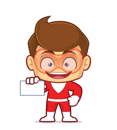 Clipart picture of a superhero cartoon character holding a blank business card