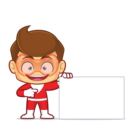 Clipart picture of a superhero cartoon character holding a blank sign