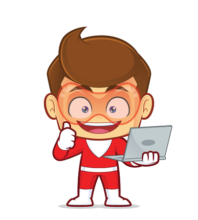 Clipart picture of a superhero cartoon character holding a laptop
