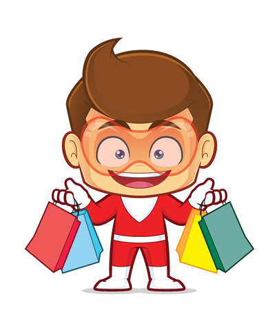 Clipart picture of a superhero cartoon character holding shopping bags