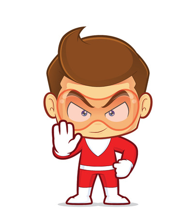 Clipart picture of a superhero cartoon character making stop hand sign