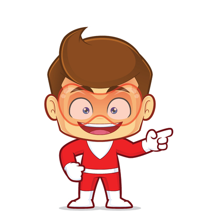 Clipart picture of a superhero cartoon character pointing his finger