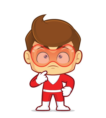 Clipart picture of a superhero cartoon character thinking Illustration