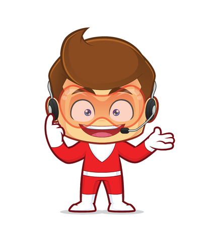 Clipart picture of a superhero cartoon character wearing headphones