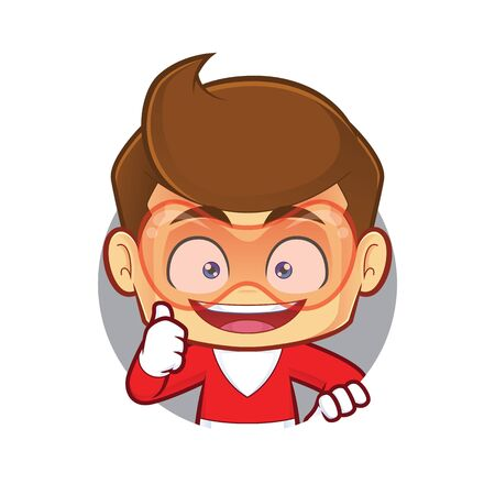 Clipart picture of a superhero cartoon character with circle shape and giving thumbs up Ilustrace