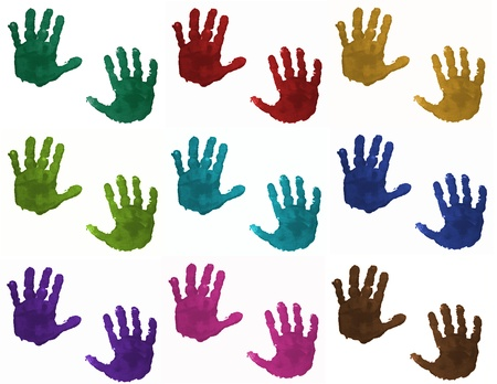 Children hand prints in different colors isolated on white background Stock Photo - 11761777