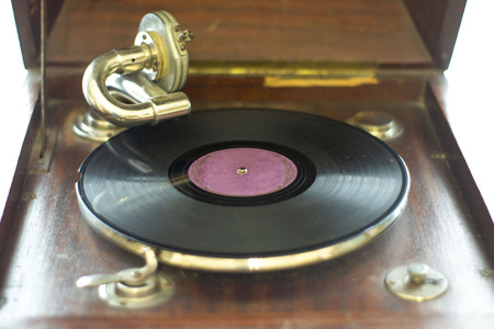 Abstract composition for designers with vintage gramophone and antique gram Stock Photo