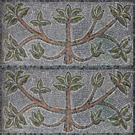 Seamless pattern of decor mosaic with brown tree and green leaves for interior design or matte painting