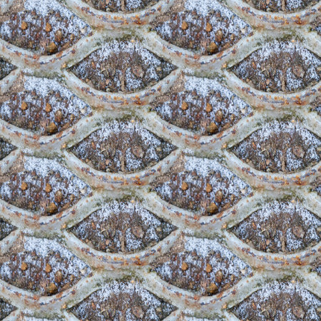 Abstract seamless pattern for designers with frozen steel and snow on ground with stone
