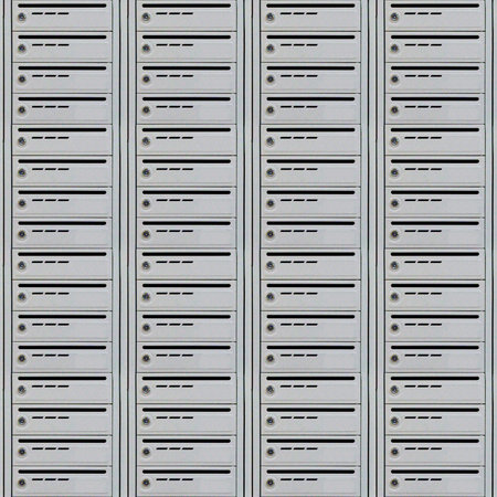 Abstract seamless pattern for designers with grey metal mail box on wall Stock Photo