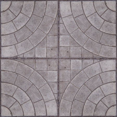 Seamless pattern of mosaic street tile. Stone squared blocks with ornament. Good for design of squares or parks. May be using for wall tiling. Foto de archivo