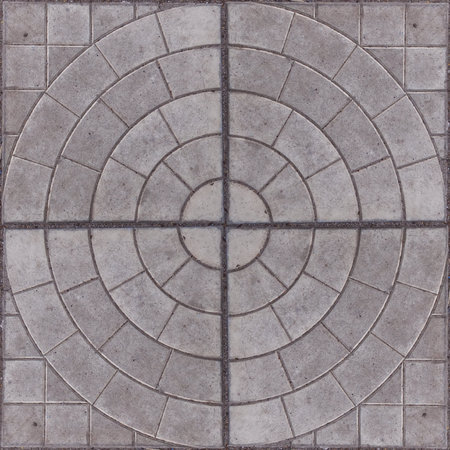 Seamless pattern of mosaic street tile. Stone squared blocks with ornament. Good for design of squares or parks. May be using for wall tiling. Imagens