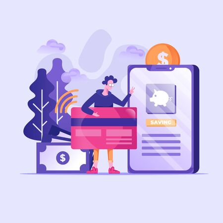 Flat illustration, tiny illustration. digital transactions with the character of an average person who transfers and deposits web money. Online payment transactions, cashback concepts, and other banking facilities via mobile. More economical processing technology. Vector illustration