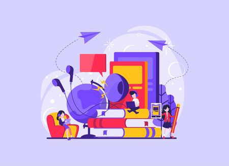 Online audio book application, smartphone and colorful books on background. Concept for mobile application for reading. Vector illustration for landing page, UI, app. Vector illustration 向量圖像
