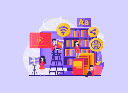 Media book library concept. E-book, reading an ebook to study on e-library at school. E-learning online, archive of books. Vector illustration 向量圖像