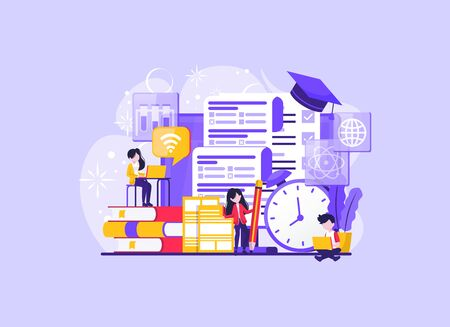 people studying university exam temporarily. Student writing distance test. Concept of online exam, online survey, testing, e-learning. Vector illustration in flat design for UI, banner, mobile app. Vector illustration