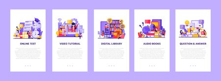 Set of flat design concept education for website and landing page template.Online education, training and courses, Vector illustration