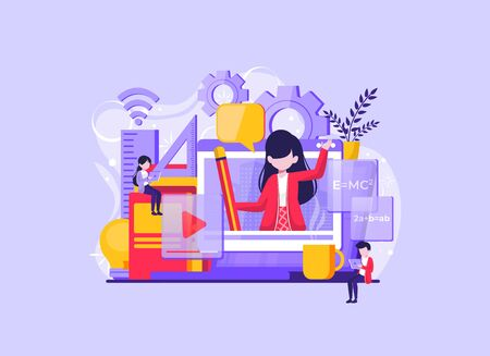 Online education and graduation. Online teacher on computer monitor. Webinar and video seminar learning. Vector illustration