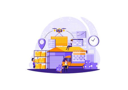 Forwarder concept. Service concept. Loader in uniform. Goods loading. Isolated flat illustration. Vector illustration Ilustração