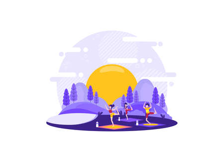 the yoga group that was practicing in the city park consisted of three women. Vector illustration