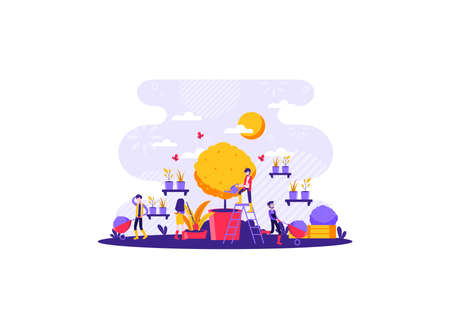 work together in caring for the seeds that have been planted to stay alive. Vector illustration