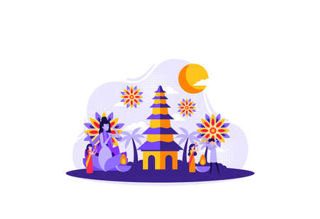 Hindus who are carrying out a religious ceremony at a temple. Vector illustration Ilustración de vector