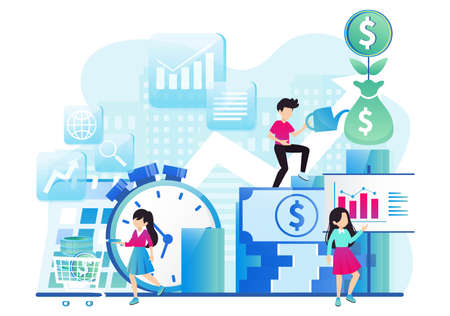 Business people working together and growing a successful financial chart with sprouting plants on a digital tablet: investments and finance concept. Vector illustration
