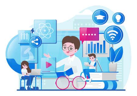 People studying online with laptop. Online education and e-learning. Concept of successful studying, online lesson, modern education. Vector illustration in tiny people design. Vector illustration 向量圖像
