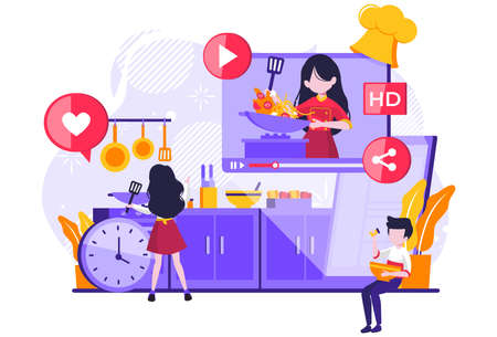 Cooking video blog on monitor display. Food blogger tells how to cook a dish. Woman chef teaches cooking new recipe. couple follower study prepare food. Vector illustration