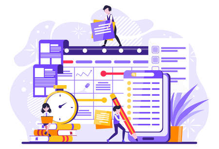 Schedule landing page. Time management, office work events and meetings. Tiny people illustration. Vector illustration 矢量图像