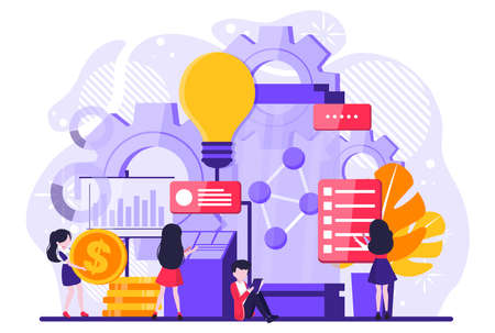 Business analysts performing idea management on screen. Innovation management software, brainstorming tools, inovation IT control concept. Vector illustration
