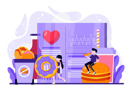 two people who consume excess fast food care about their health. Vector illustration