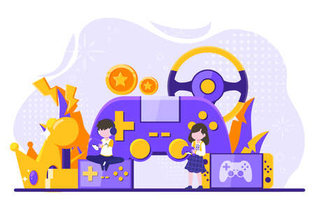 a woman and a man playing games on their cell phones with a big joystick behind them. Vector illustration