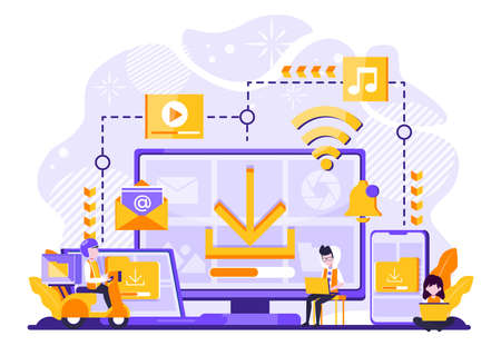 vector illustration of file storage technology, sharing, remote worker, network industry 4.0. people sharing work file. cloud improvement to transfer is effective and faster. tiny people character. Vector illustration 矢量图像
