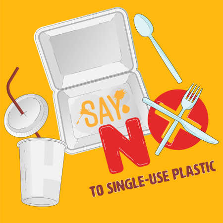 Single-use plastic container for food and beverage outline flat objects with typographic design. Say no to plastic concept. Vector illustration.