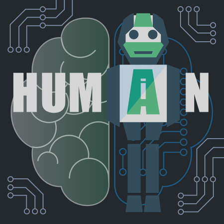 Artificial intelligence (AI) is intelligence that robot mimics function of human brain. Vector illustration.