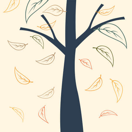 Tree silhouette, branch and falling leaves in autumn day. Vector Illustration.