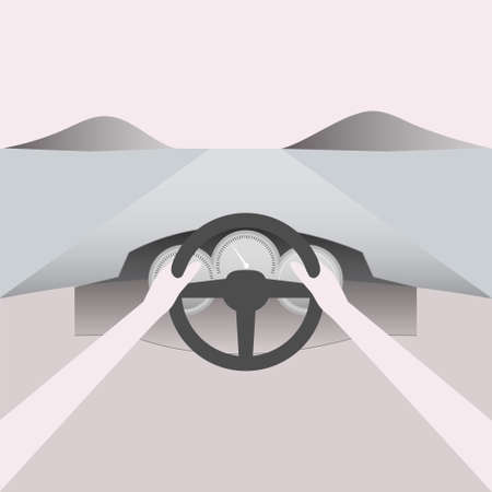 Point of view while driving through. Vector Illustration. Векторная Иллюстрация