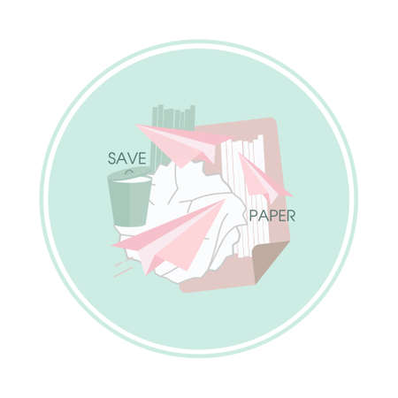 No document, crumpling, shredding and plane in office to save paper. Lifestyle habit to save concept. Vector illustration. Illusztráció