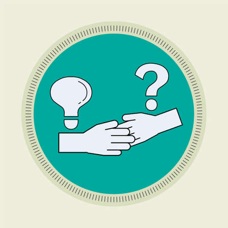 Minimal line flat design of knowledge sharing. Have a hand in Concept. Retro scout badge style. Vector illustration.