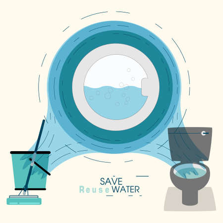 Operation of front door washer in ripples frame, on water flow background. Showing 2 way of reuse rinse water from washing machine. Lifestyle habit to save water concept. Vector illustration. Illustration