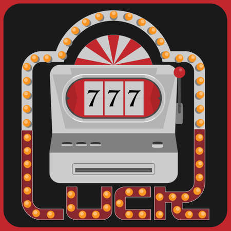 Slot machine inside frame with typographic design in style of lighted cinema sign. Lucky concept. Vector illustration.