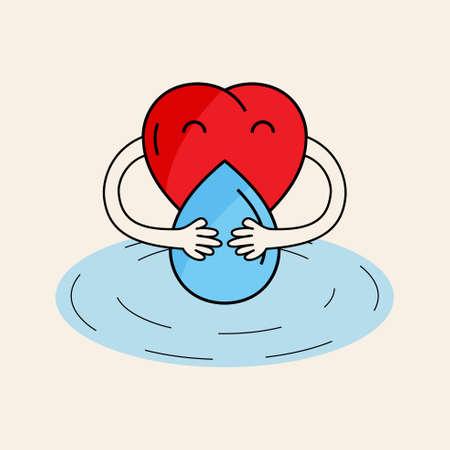 Heart character hug water drop. Love water design concept. Vector illustration.