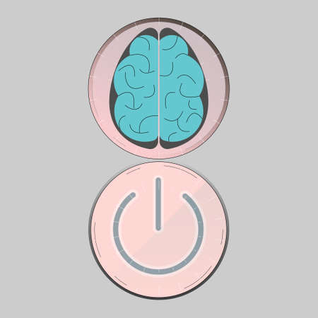 Brain and power button depicting brainpower. The effective use of human brain. Vector illustration. Illustration