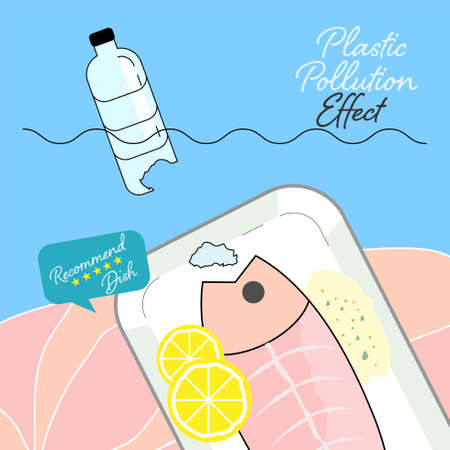 Plastic pollution effect on consumption of fish meat. Ocean plastic pollution concept. Vector illustration.