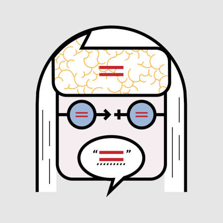 Female and male faces layer. Thinking, seeing and speaking with gender equality mind. Simple line symbol. Vector illustration. Illustration