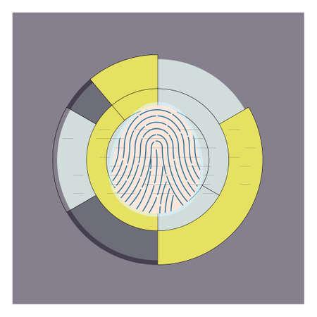 Display of fingerprint scanner. Vector illustration.