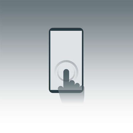 Fingertip tapped on smartphone. Depiction of touchscreen. Vector illustration.