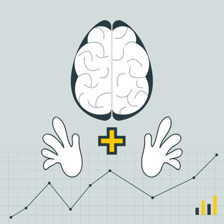 Brain and hand symbol on line graph background. Depiction of thinking and doing. Make it visible concept. Vector Illustration.