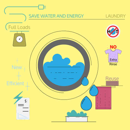 Tips for saving water and energy in household laundry habits. Vector illustration.